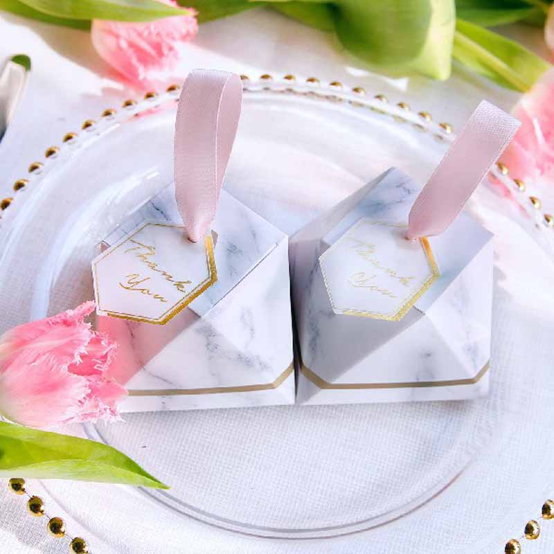 50+50 Ribbon+50 Thank You Cards Simple Marble Wedding