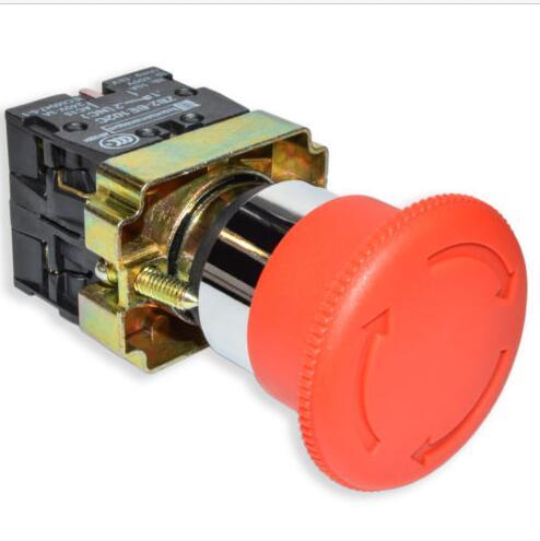 1 шт., XB2-BS542, высокое качество, Серебряное основание, Аварийный кнопочный переключатель, 22 мм диаметр, кнопка, Грибная головка