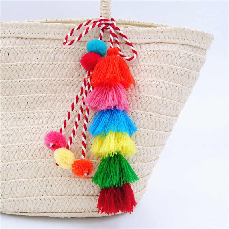 Colorido pompón llavero borla pompón colgante llavero accesorios llavero mujeres bolso de la joyería del coche bolso colgante
