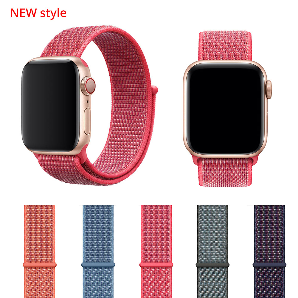 цена New Woven Nylon Sport Loop band for Apple Watch Series 4 44mm 40mm strap watchband for iWatch 42mm 38mm Series 4 3 2 bands