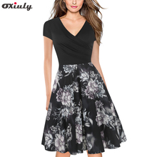 Women Vintage Contrast Patchwork Flower Printed Pocket Work Office Business Casual Party Fit and Flare Skater A Line Dress цена 2017