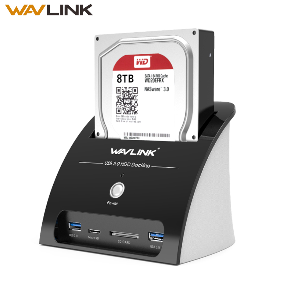"Wavlink HDD Docking Station 2.5 3.5 inch with Card Reader USB 3.0 to SATA Hard Drive External Enclosure for 2.5"" & 3.5"" HDD SSD-in HDD Enclosure from Computer & Office"