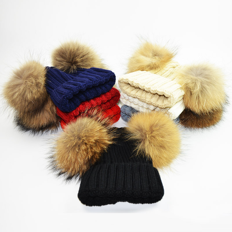 Fansin Brand Mother Kid Baby Double Fur Ball Child Hats Keep Warm Winter Knit Beanie Baby Hats Crochet Cap Family Matching