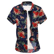 Men's Shirts Floral Blouse Mens clothing Slim fit Summer Flower Shirt Men Leisure Beach style Fashion Camisa masculina blouse men slim fit men s shirts hawaiian style beach leisure summer camisa masculina new model shirts mens clothing