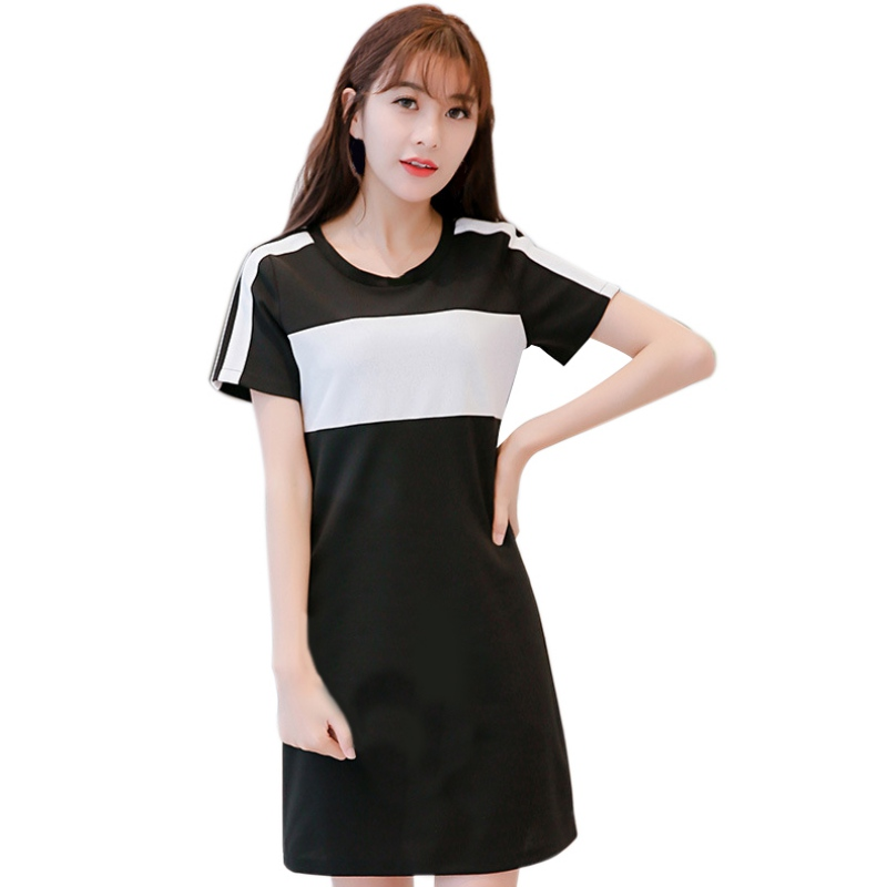 Summer Women Short Sleeve Hit Color Striped Mini Dress High Street O-Neck Bodycon Slim Dress S-XXL T6