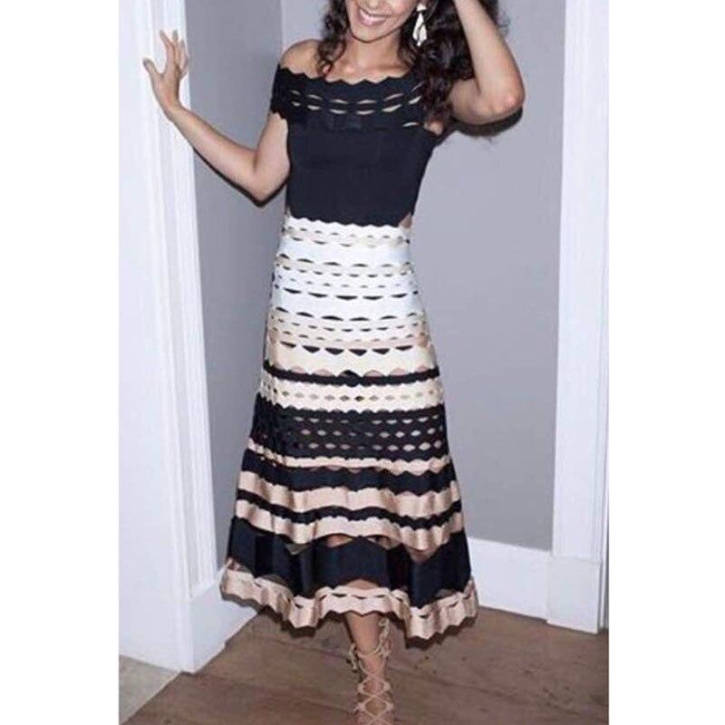 2017 haute qualité nouveau Style Chic Bandage jupes noir Beige blanc Patchwork une ligne élastique Jacquard célébrité fête longue jupe