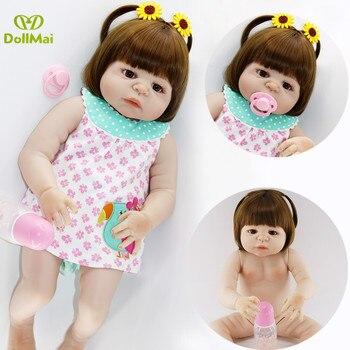 "Reborn baby real dolls 23""57cm full silicone reborn baby girl dolls toys for child gift can bathe boneca reborn"