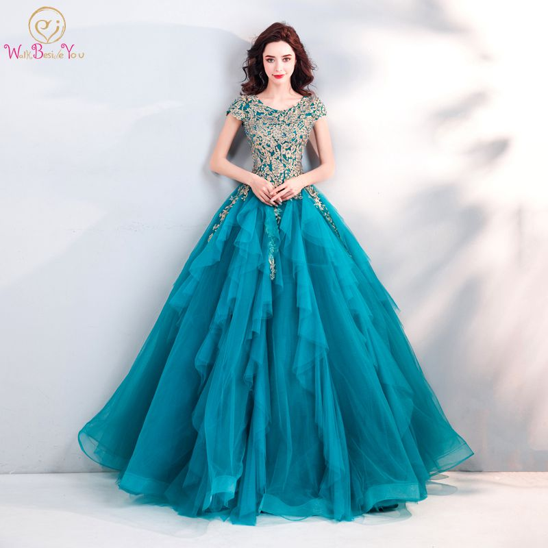 Walk Beside You Turquoise Blue Evening Dresses Cap Sleeves Pearl Ball Gown Tulle Long Women 2019 Prom Gown Formal Party Vestidos
