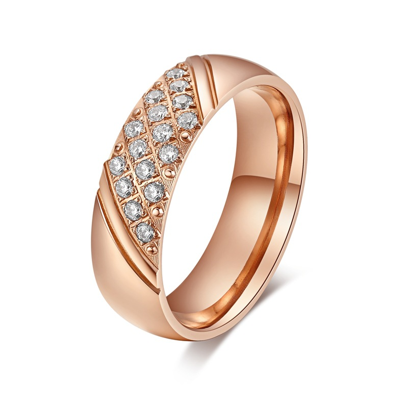 Rose Gold Ring With Cz Diamonds For Women Engagement