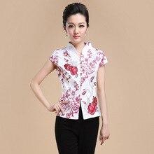 มาใหม่สีขาวสีแดงสไตล์จีนผู้หญิงสูทผ้าฝ้ายถังท็อปส์เสื้อวินเทจแบบดั้งเดิมจีนเสื้อยืดMl XL XXL XXXL 4XLT04