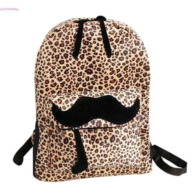 Women Leopard Backpack With Beautiful Colleague Mustache For Girls And  Women Backpack