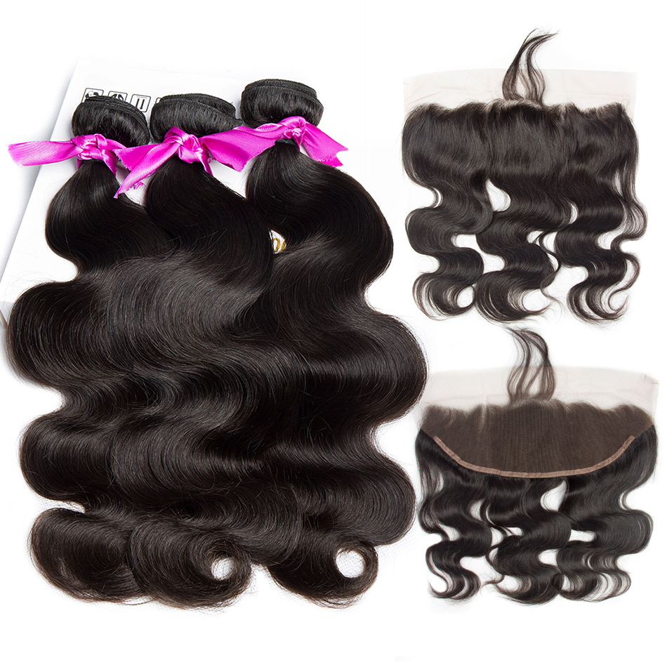 Alibele Hair peruvian body wave 3 or 4 bundles with lace closure remy human hair extension