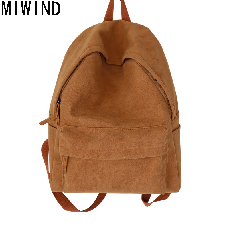 MIWIND Brand Women Backpack School Bags For Girl Simple Matte Canvas Leisure Korean Women High Quality Fashion Back pack TTM1079
