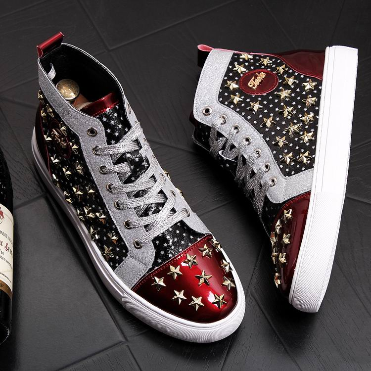 ERRFC Personalized Fashion Men High Top Casual Shoes Luxury Star Rivets Charm Mixed Colors Ankle Boots Man Trending Leisure Shoe 7