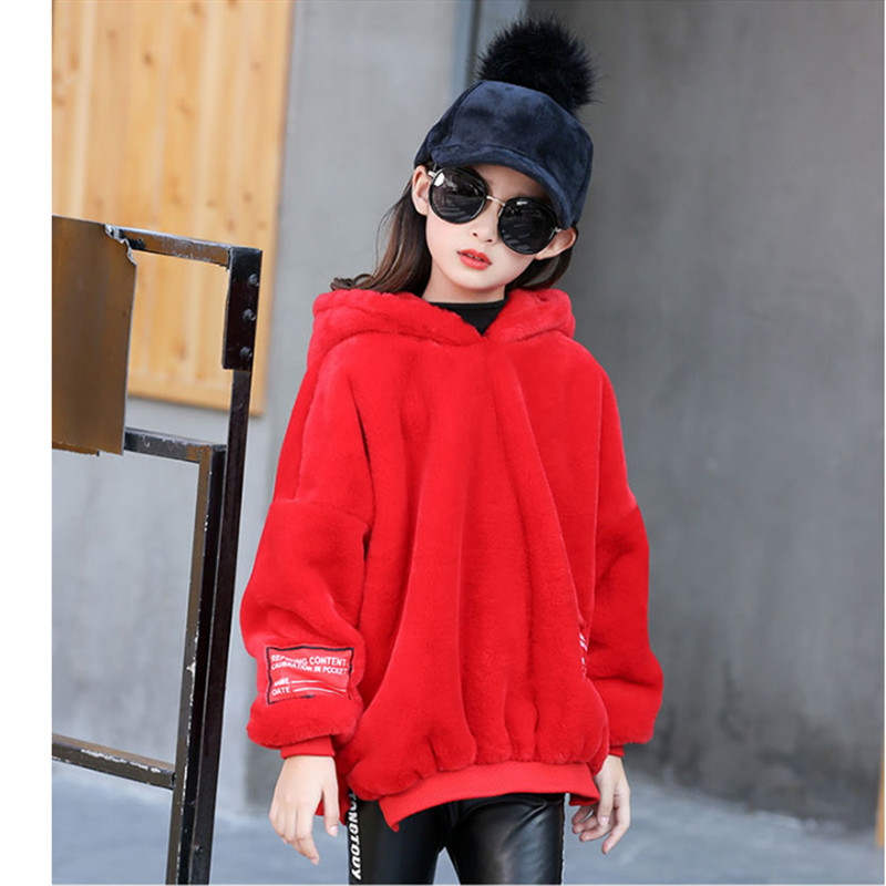 IIMADFWIW Sweatshirts For Girls Casual Loose Letters Hooded Faux Fur Hoodies Children's Clothing For Autumn & Winter 120-160