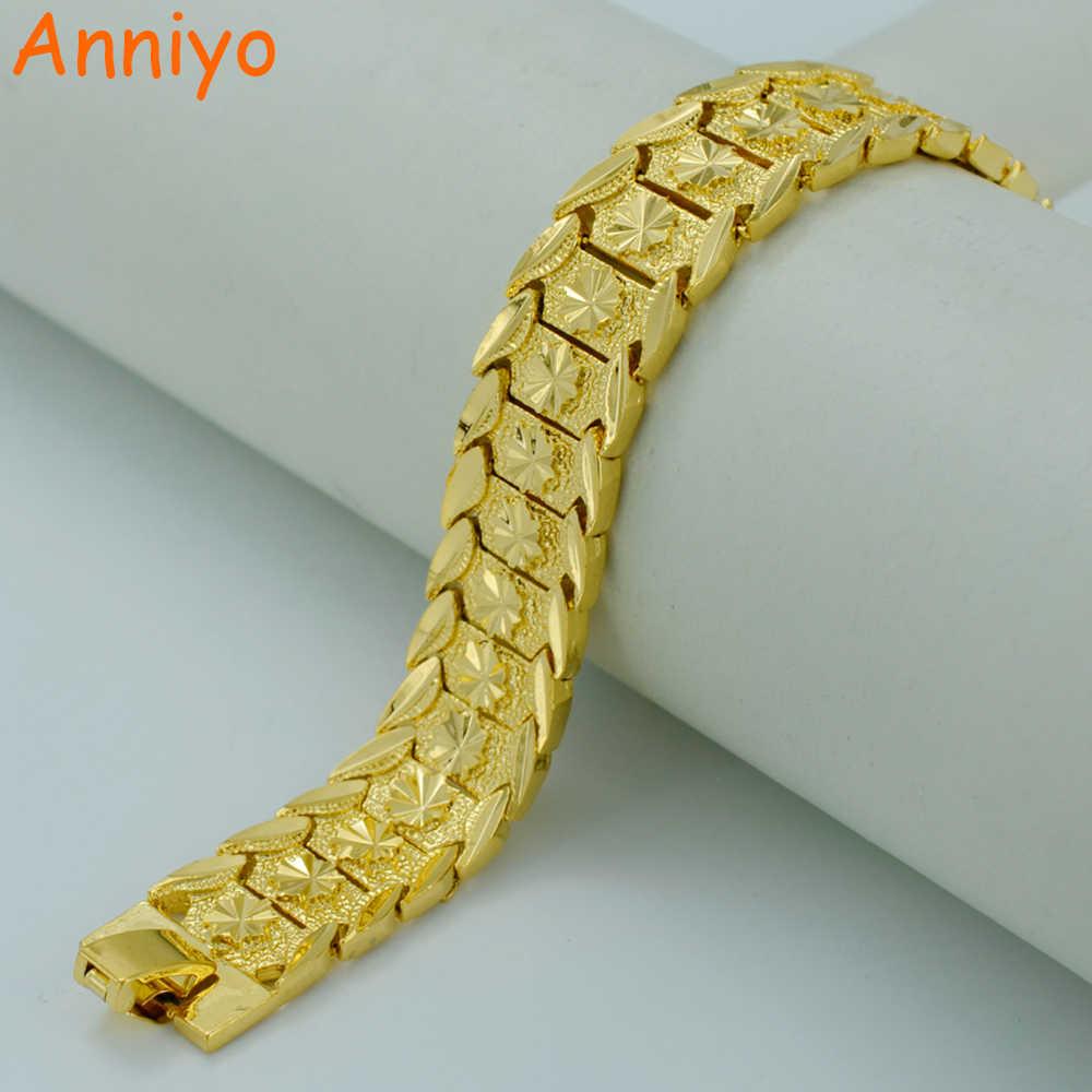 e104c551c5c8b Anniyo 20.5CM,Gold Bracelet for Women/Men Gold Color & Brass,Dubai ...