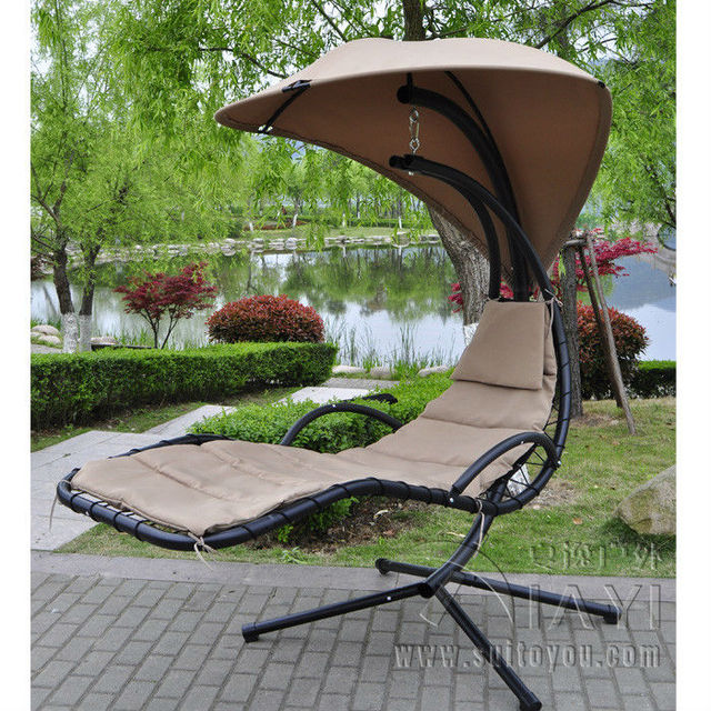 Hanging Chaise Lounger Chair Arc Stand Air Porch Swing Hammock Canopy