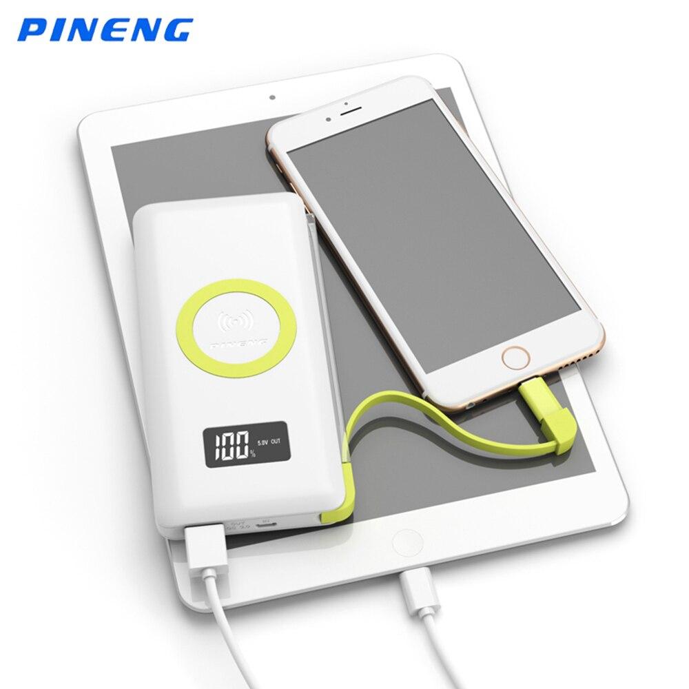 imágenes para PINENG Banco 10000 mAh de Energía Móvil de Carga Inalámbrica Indicador Del Li-polímero cargador Portátil de Batería Externa Para El Iphone 5 6 s 7 plus xiaomi