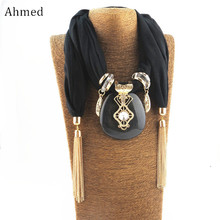 Ahmed Bohemian Large Geometric Pendant Tassel Scarf Necklaces for Women New Choker Necklace Chain Fringe Collar Jewelry