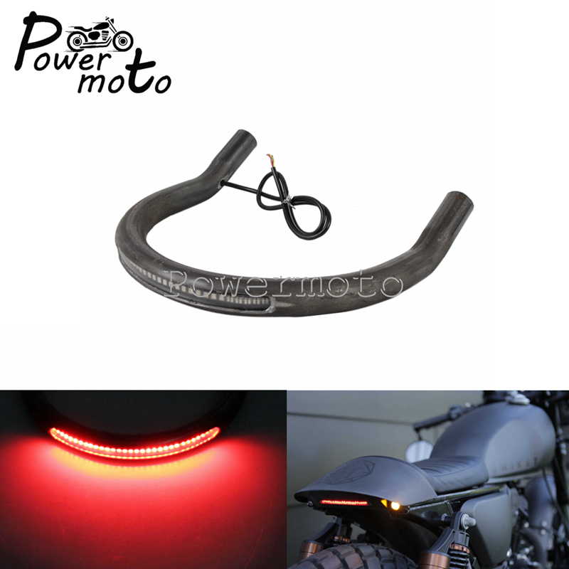200mm Flat Cafe Racer Retro Brown Seat Pad+Frame Hoop Loop LED Turn Signal Light