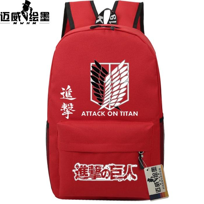 Hot!Attack on Titan Shingeki no Kyojin Harajuku Korean version new man woman Campus winds Casual Backpacks canvas schoolbag attack on titan shingeki no kyojin pu leather wallet purse
