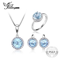 JewelryPalace 10.7ct Natural Sky Blue Topaz Halo Solitaire Engagement Ring Mặt Dây Chuyền Vòng Cổ Stud Earrings 925 Sterling Silver