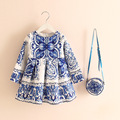 2016 New princess party dressess european style girl long sleeve dress kids dress +bag printed flower cartoon china blue 16O101