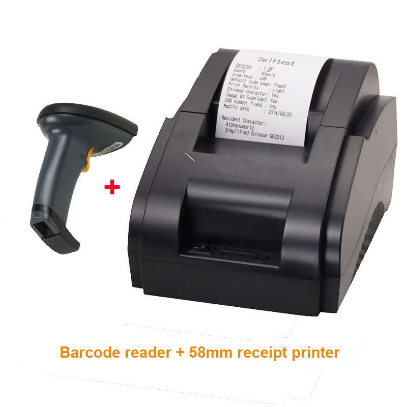 Free shipping USB port 58mm receipt printer and Barcode reader Thermal bill printer POS printer for Shop 2017 new arrived usb port thermal label printer thermal shipping address printer pos printer can print paper 40 120mm