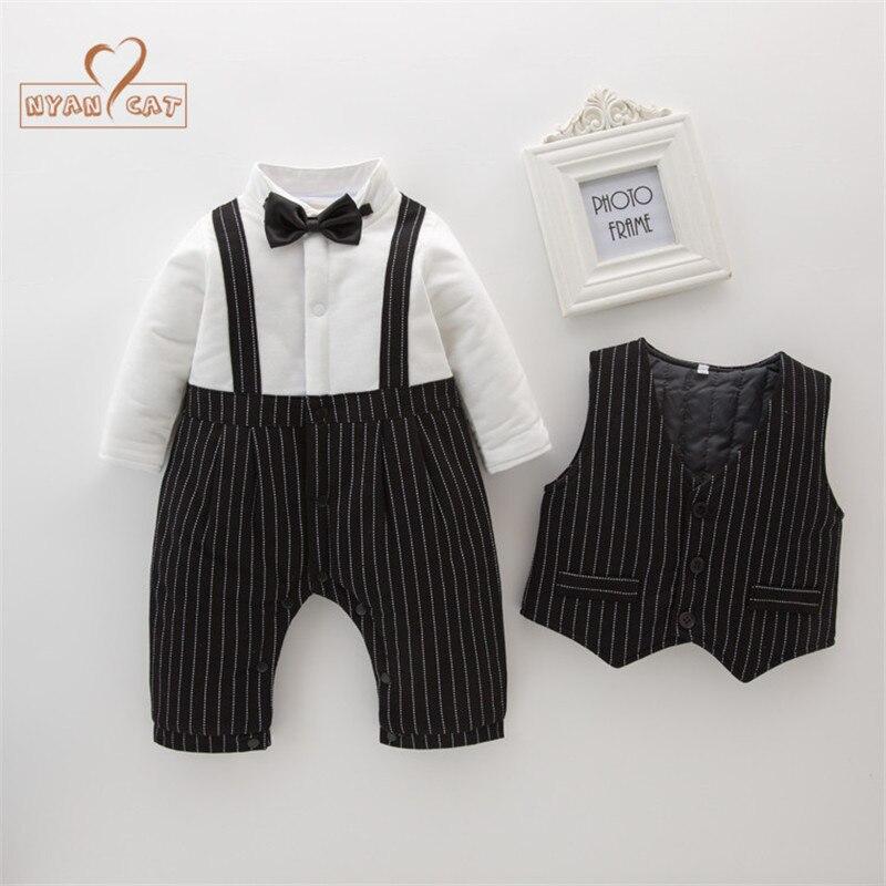 Nyan Cat Baby boy clothes gentlemen wedding black striped bow tie full sleeve winter romper+vest 2pcs set party wedding costume