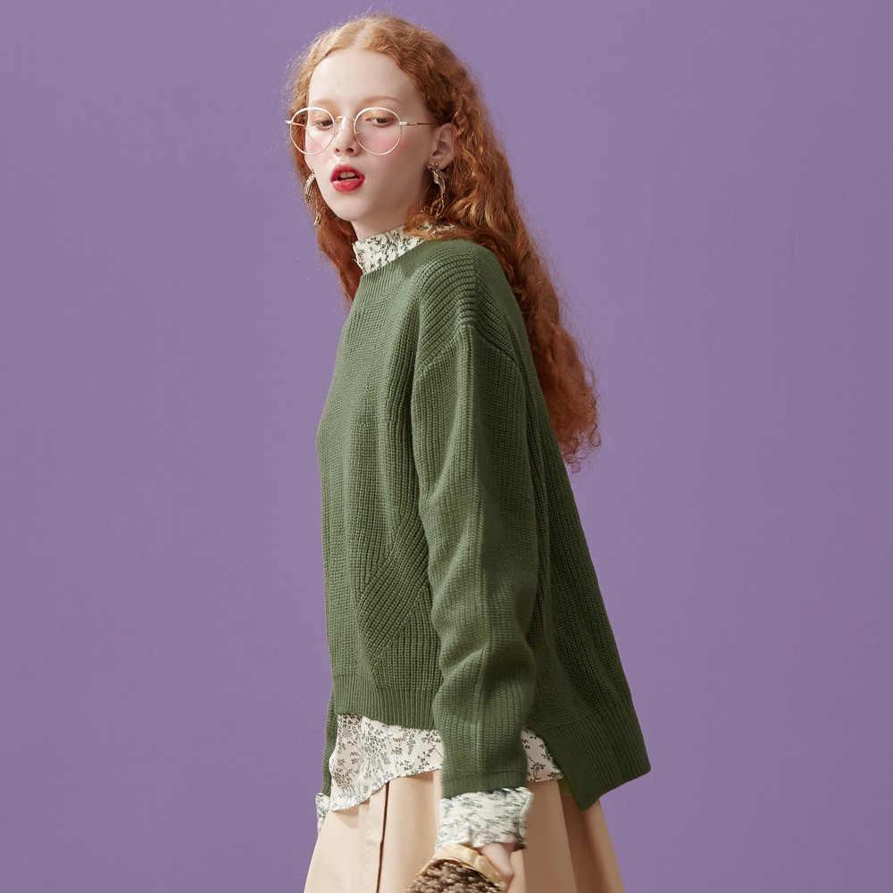 Metersbonwe Algodão Mulheres Camisola de Malha Pulôveres Mulheres Blusas Básicas de Gola Alta Outono Inverno Estilo Coreano Slim Fit