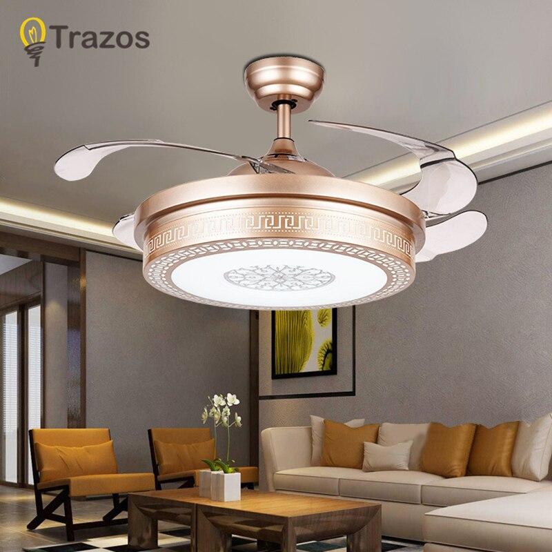 TRAZOS 42 дюймов современные Вентилятор выдалбливают комнаты потолочных вентиляторов с подсветкой розовое золото вентилятор Спальня потолочн... ...