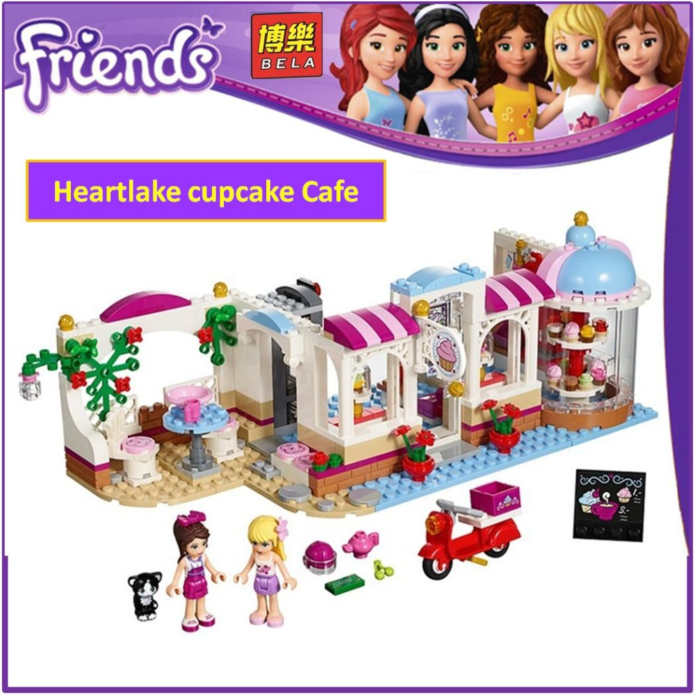 Bela Building Blocks 10496 Compatible with Friends Heartlake cupcake Cafe 41119 Model Educational Toys for Children 10496 girl friends heartlake city park cupcake cafe building blocks sets kids education bricks toys gift compatible with legoe