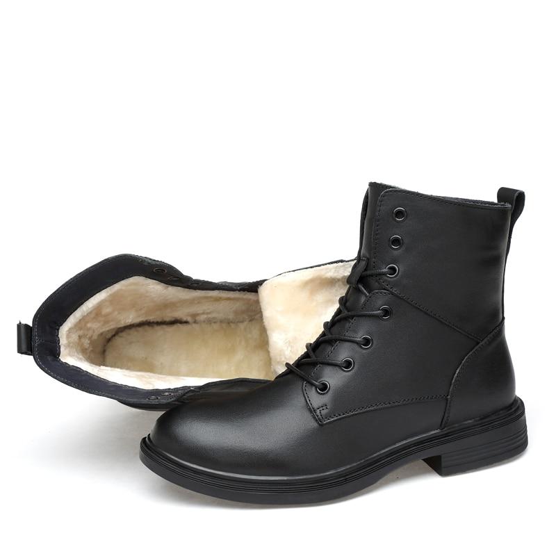 Qualidade Genuíno Plush Bota Quente Estilo Casual black Outono Moda up Lace De Inverno Preta Sapatos Homens Black Alta Vkergb Botas Masculina Couro Vintage Do 5HRznwA