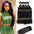 4 Bundles Peruvian Virgin Hair With Closure Straight Virgin Hair With Lace Closure 8A Unprocessed Human Hair With Closure