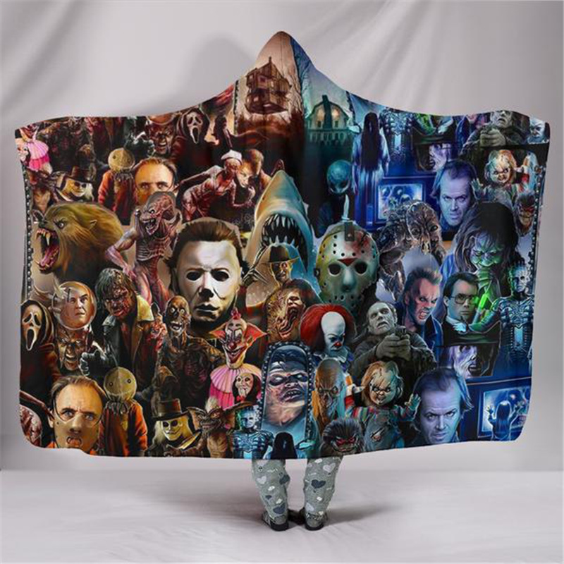 3D Funny Hooded Cloak For Adults Kids Cosplay Horror Movie Blanket Warm Thicken Woman Girls Boys Blankets on the Sofa