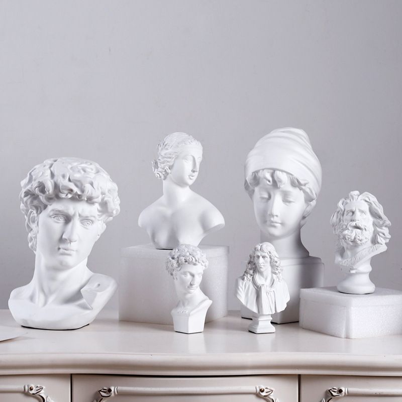 Classic White Resin King David  Bust Head Statue Sculpture Venus Figurines Miniatures  Ornaments Desktop Decoration