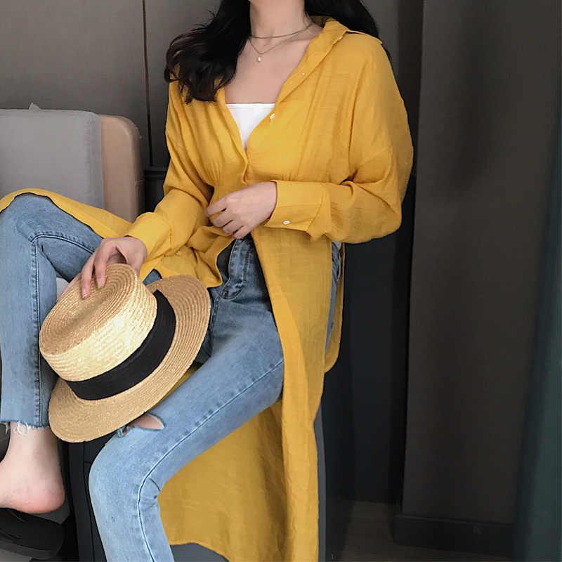 Новый Разделение длинная рубашка с рукавами «летучая мышь» туника с высокой талией больших размеров блузка Топ Для женщин 2019 Весна Повседневное Корейская одежда