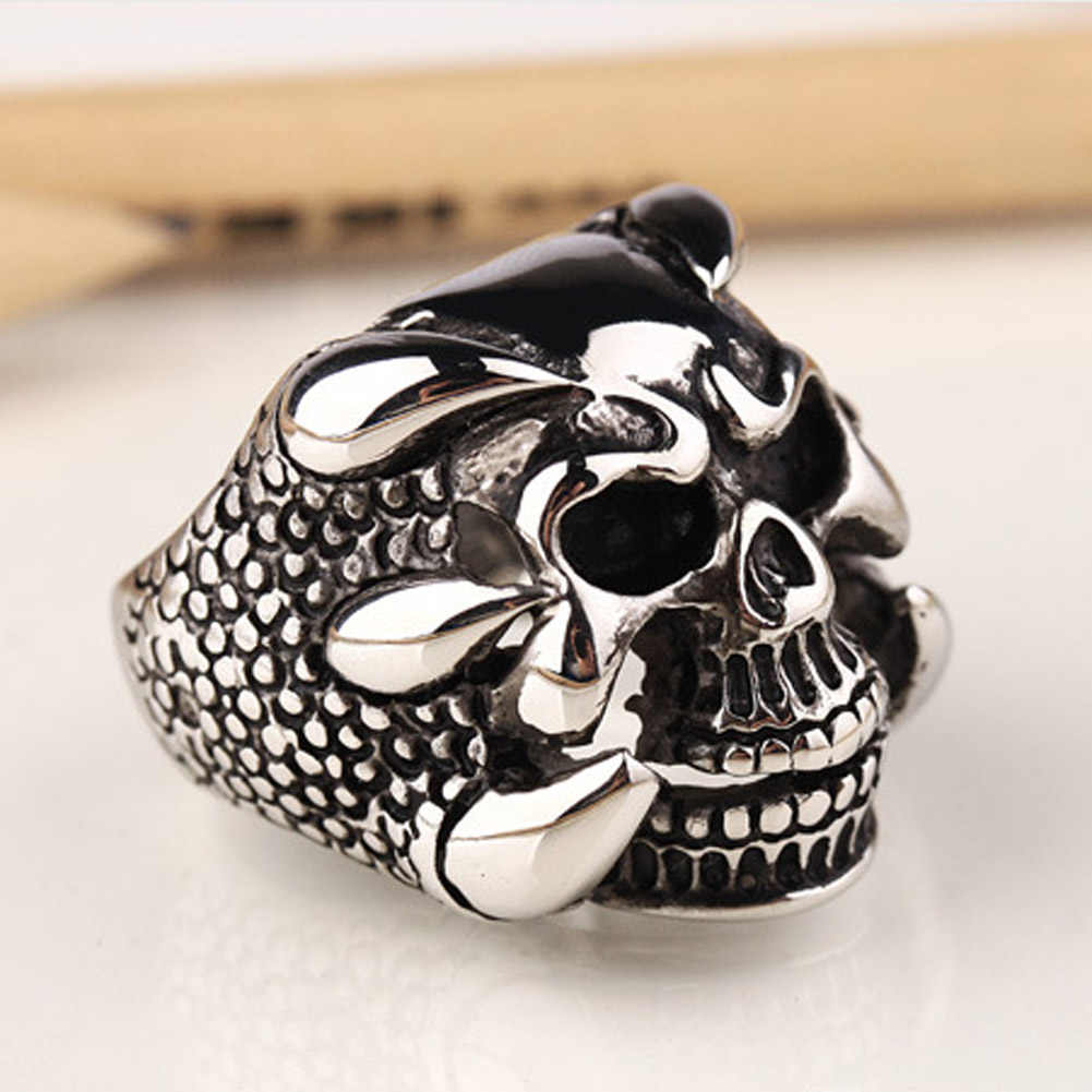 2017 New Punk Mens Biker Rings Vintage Gothic Skeleton perhiasan Antique Silver Dragon Claw Cincin Pria Skull Rings US ukuran