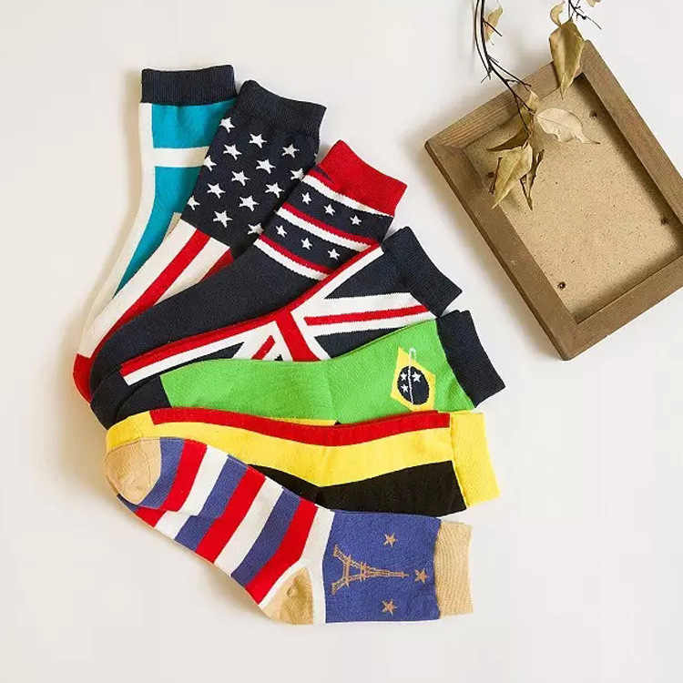 10pcs=5pairs/lot Men Socks The Art Abstract Painting Pattern Series Of Cotton Socks In Tube Retro Harajuku Street Fashion NW06