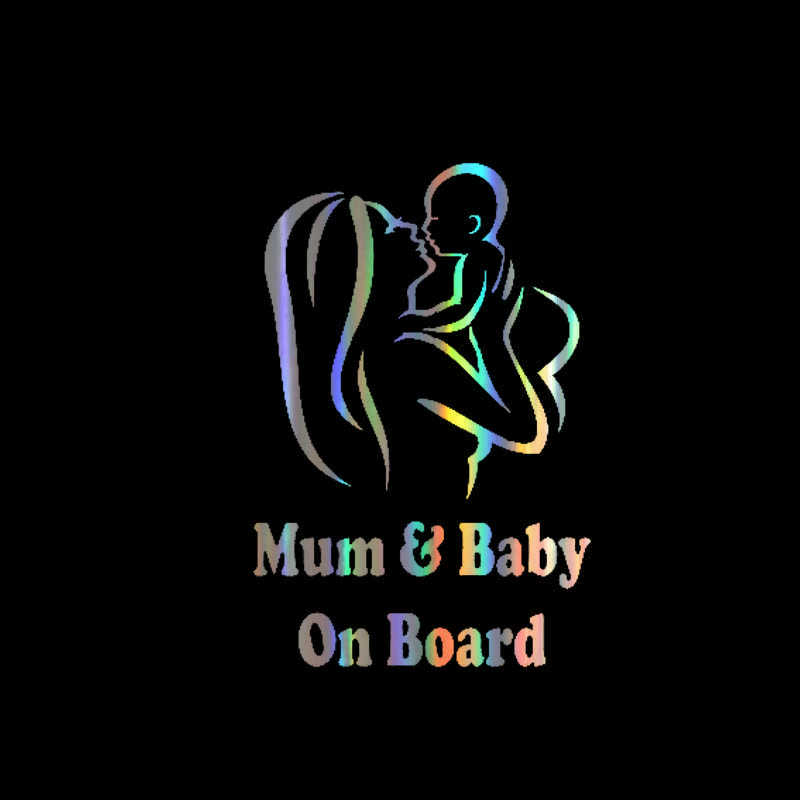Auto Sticker Vinyl 18*12cm MUM En Baby Aan Boord Grappige Sticker Decal Reflecterende Laser Motorfiets Auto Styling 3D Stickers