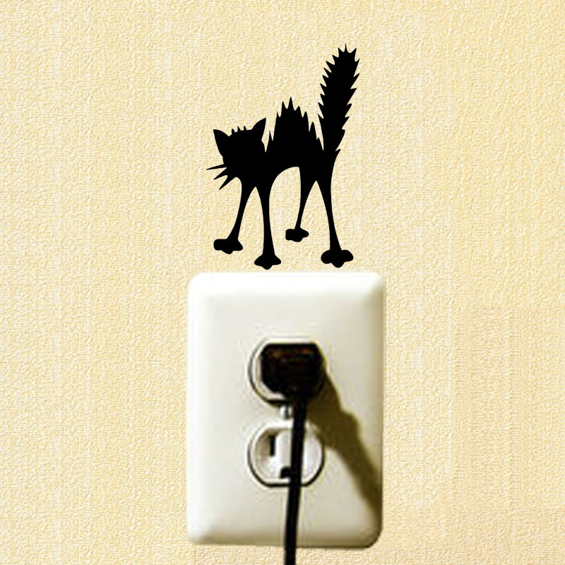 Angry Cat Silhouette Vinyl Wall Decal Personality Funny Cartoon Switch Sticker 2SS0461(China)