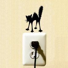 YOJA Angry Cat Silhouette Wall Decal Cartoon Switch Sticker