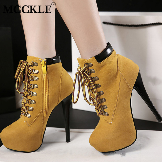 New Women Cross Tied Platform Sexy Stiletto Ankle Boots Female Suede Zipper High Heels Shoes Platform Ladies Fashion Thin Heel