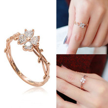 Simple Elegant Sweet Flower Zircon Rings For Women Bijoux Gold-Color Fashion Jewelry Cute Gifts