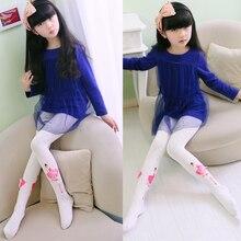 Children Kids Girls Dancing Leggings Pants Flower Floral Printed Elastic Long Trousers Pink 3D Princess Socks 1-10 Years DS9