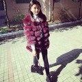 Hot sale trendy 2016 autumn winter female fur jacket, fluffy 100% genuine fox fur coat for women, horizontal design
