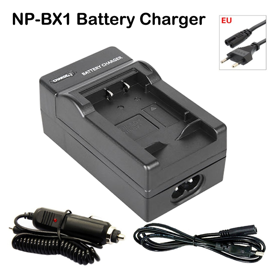 NP BX1 Battery EU Cable Charger for Sony Camera HDR AS100v AS30v HX50 DSC RX100 HX400 WX350 DSC RX1 RX100 RX100iii M3 M2 RX1R in Chargers from Consumer Electronics