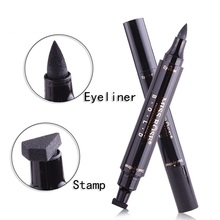 Waterproof Double-Head Seal Black Liquid Eyeliner Triangle 2-in-1 Quick Dry Lasting Eyes Liner Smooth Pen Stamp Makeup Maquiagem