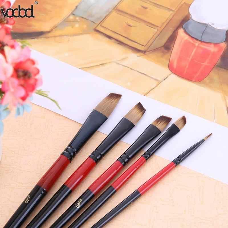 5 Stks/set Watercolornylon Haar Houten Handvat Verschillende Grootte Aquarel Acryl Olie Kwast Set Voor Tekening Schilderen Art