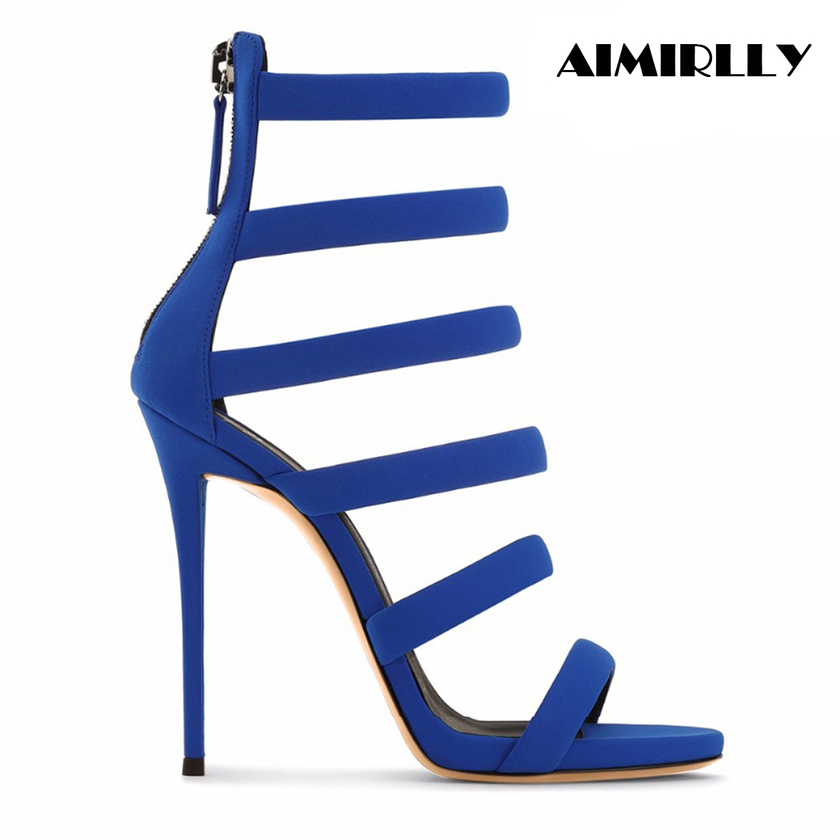 Aimirlly Summer Women Open Toe High Heels Sandals Blue Strappy Back Zipper Cover Heels Ladies Party